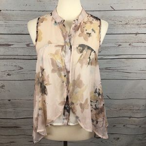 Costa Blanca Abstract Floral Art Print Blouse
